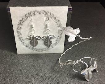 Leaf Bracelet Wrap with Leaf Earrings on Dangle Ear Wire Hooks, Autumn Leaf Earrings and Cuff, Ivy Handmade Leaf Earrings and Bracelet Set