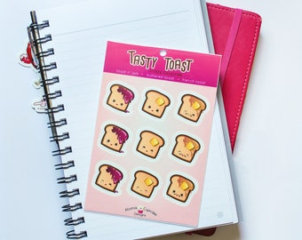 "Kawaii ""Tasty Toast"" Sticker Sheet - 4x6 Inches"