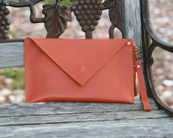 Orange envelope clutch-Leather purse, Wristlet handbag, Evening clutch,Orange leather bag,Orange leather clutch, Orange leather, Gift ideas