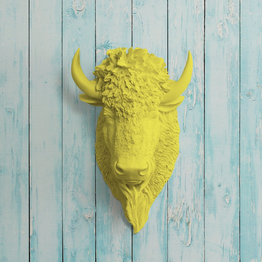 The Yellowstone in Yellow Faux Bison Head Taxidermy Resin
