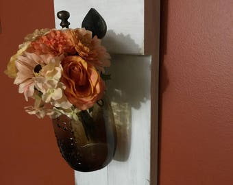 Lot de 2 appliques rustique Mason Jar bougeoir, décoration rustique, décor de ferme, accrocher des pots Mason, Mason Jar, décoration murale, Shabby chic,