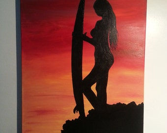"Surfer Girl Silhouette 24"" x 36"" Acrylic"