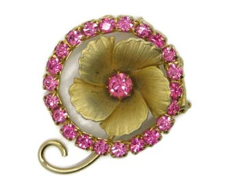 Rhinestone Flower Pin, Vintage Circle Pin, Pink Rhinestone Brooch, Goldtone Sparkly Pin, Classic Jewelry, Mothers Day Gift