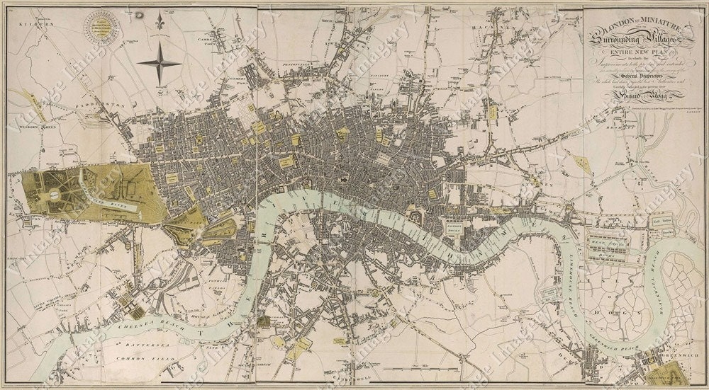 Huge vintage historic map of london england 1807 old antique zoom gumiabroncs Gallery