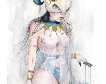 """Art Print """"Oracle"""" painting with gold details"""
