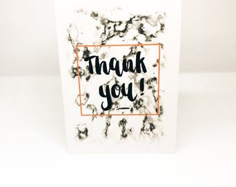A6 Thank you card,Marble effect pattern,Brush Lettering,Handmade card,Individual Thank you card,Small Cards,Just to say thank you.