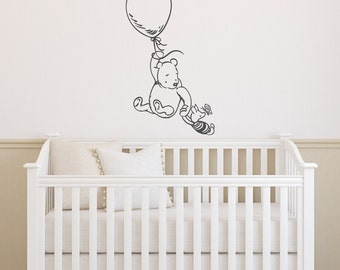 Classic Winnie The Pooh and Piglet Vinyl Wall Decal- Pooh Bear Wall Decal- Wall Decal Kids- Classic Winnie The Pooh Nursery Wall Decal 136