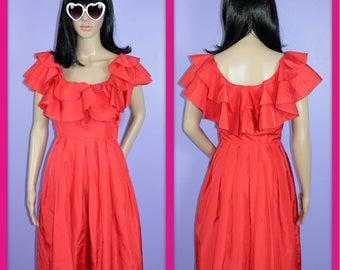 Vintage Red Ruffle Dress with Pockets La Isla Bonita Glamour