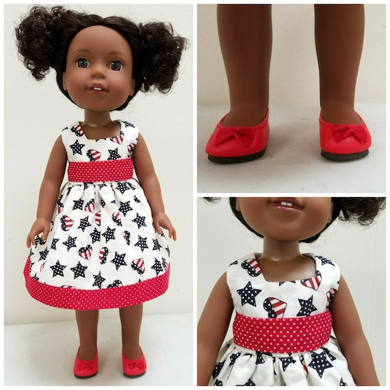 Red, White and Blue  Patriotic Dress for Wellie Wishers Dolls