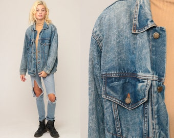 80s Denim Jacket Jean Jacket Vintage ACID WASH Grunge Jacket Trucker Button Up Light Blue 90s Hipster Oversize Medium Large