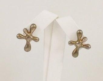 Sterling Silver 925 Designer AC Studio Mid Century Modern Splash Earrings