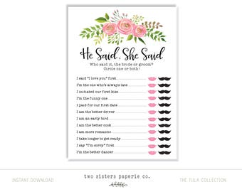 Floral He Said She Said Game - TULA Collection - Printable Bridal Shower Game - He Said She SaidGame - Instant Download