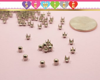 150pcs 3mm Silver Round Studs, 4 Prongs Silver Dome Nailhead| Dome Nailhead Studs| Dome Studs| DYI Studs| Leather Round Stud Spot Spike V100