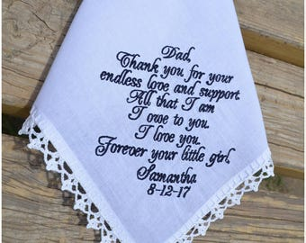 Personalized Dad, Wedding gift for Dad Handkerchief for Father of the bride Gift for Father fom the Bride dad wedding gift from Bride