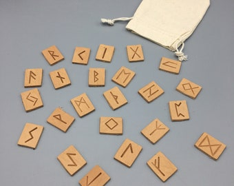 Viking Runes Set - Natural Leather