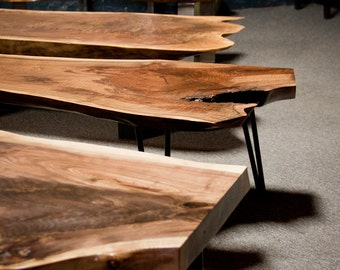 Live Edge Coffee Table   Walnut   CUSTOM BUILT  Seattle   Reclaimed  Rustic