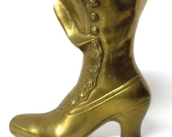 Unique & adorable Victorian brass antique style boot figure Excellent Condition!