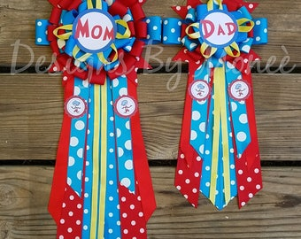 Dr Suess the Cat in the Hat Babyshower Corsage Thing 1 Thing Two Mommy to Be Baby Girl Baby Boy