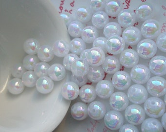 Pearly AB color Shiny beads 10mm 25pcs White