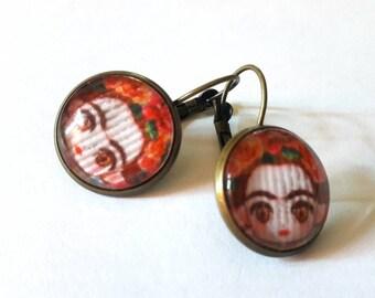 Earrings Frida Kahlo doll / Frida doll paper under cabochon 16 mm / frida kahlo patterns