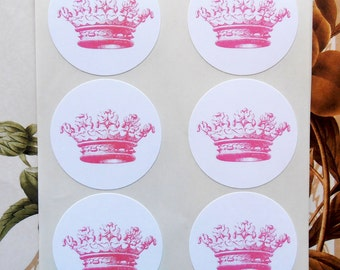 Crown Stickers - French Royalty Baby Shower Wedding Party Favor Princess Prince Party SP053