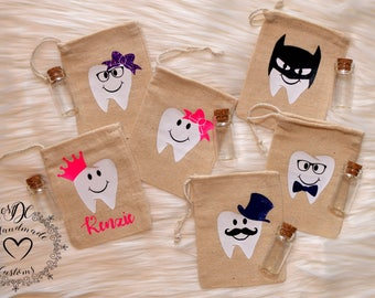 Cotton- Burlap- Kid's Tooth Fairy Bag- Personalized w/ vial