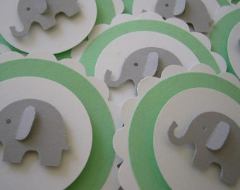 Elephant Cupcake Toppers - Mint Green, Gray and White - Gender Neutral - Baby Shower Decorations - Birthday Party Decorations - Set of 12