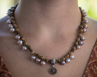 Pearl and Jasper Necklace with Interchangeable Pandora Flower Pendant
