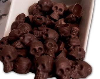 Chocolate Covered Espresso Beans Skulls - Handmade Chocolate Skulls filed with fresh roasted Coffee or Espresso Beans