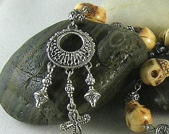 New Spain - 16th c. Bone Skull Chaplet w Cross - Memento Mori