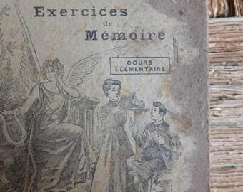 Exercise de Memoire, A. Delapierre & A.P. de Lamarche 1882,  antique French primary school text book reading collectible ephemera