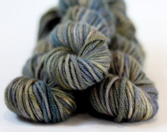"""Hand dyed 100% Cashmere Yarn, """"Winters Muse"""", Chunky, Mischa, Cashmere, gray, green"""