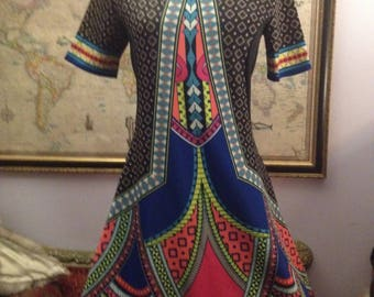 Ethnic Mod Styled Dress Bright Colors fitted Asian or Kaftan Design
