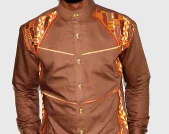 Linen fabric and embroidered shirt African print