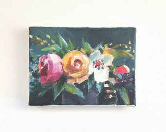 original acrylic flower painting, tulips painting, small painting, stilllife art, 6x6 painting, acrylics on canvas, small wall art, floral