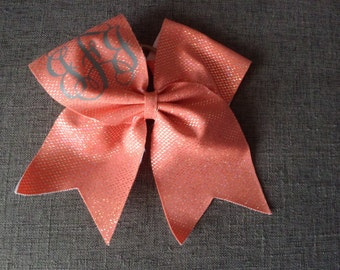 Salmon Colored Monogramed Cheer Bow