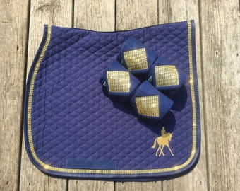 Custom PONY Dressage Saddle Pad Set with Polo Wraps and Bling Trim