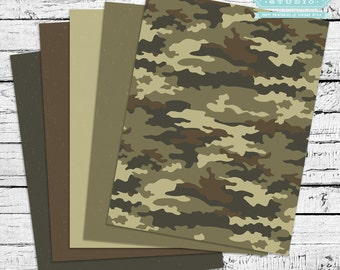 Little Soldier Printable Camo Scrapbook Papers - INSTANT DOWNLOAD
