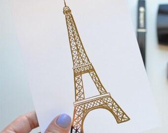 Gold Foil Eiffel Tower (8x10 or 5x7), Paris Decor, Paris Bedroom Decor, Paris Print, Tour De France, French Vintage