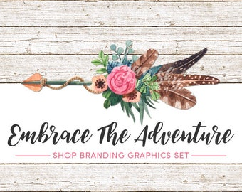 Rustic Boho Chic Shop Branding Banners, Avatar Icons, Business Card, Logo Label + More - 12 Premade Graphics Files - EMBRACE THE ADVENTURE