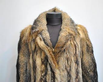 Vintage FOX FUR LONG coat , women's winter coat............(621)