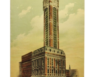 Vintage Print NYC - Singer Building - 1910's Lithograph - New York City Artwork for Home Decor or Office