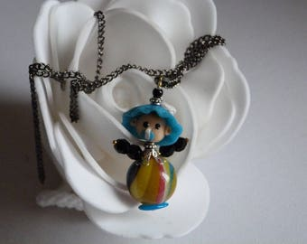 BEAUTIFUL BABY CLAY PENDANT NECKLACE POLYMER CLAY AND BEADS