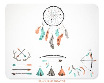 DreamCatcher, Antlers, Arrows, TeePees, and Feather Clip Art, Backgrounds and Borders