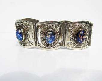 Taxco Mexico Alpaca Silver (not sterling) and Dichroic Glass Link Bracelet - 2535