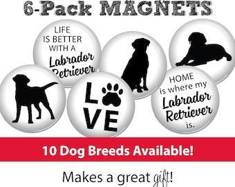 Dog Magnets • SET OF 6 • Dog Lover • Pet Gift • Labrador • Yorkie • Beagle • Dachsund • Boxer • Poodle • Doberman • Terrier