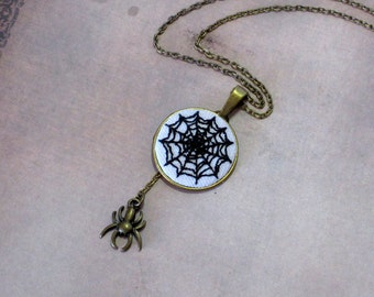 Intricate Hand Embroidered Spider Web Necklace