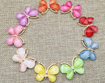 5 Sparkling Resin Butterfly Embellishment Flat Back Hair Flower Center Button Component Headband Jewelry Phone Case Supply 23x30mm