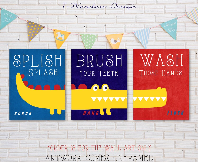 Para niños niños chicos cocodrilo baño Decor arte imprime
