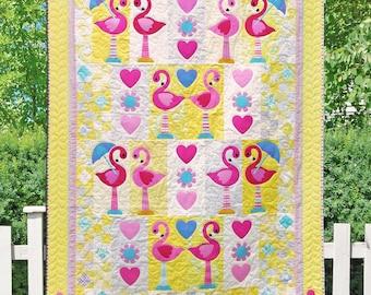 Flamingo Dance PDF Quilt Pattern | Quilt Pattern | Flamingo Quilt | Flamingos | Applique Quilts | Happy Quilts | Kids Quilts